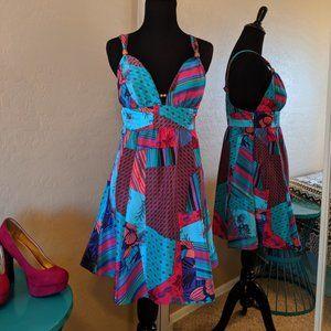 🌈Guess Jeans Dress / Patchwork 100% Silk Dress 🌈